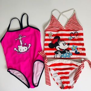 Other - Girls Bundle Swimsuits Disney Hello Kitty Size 5/6